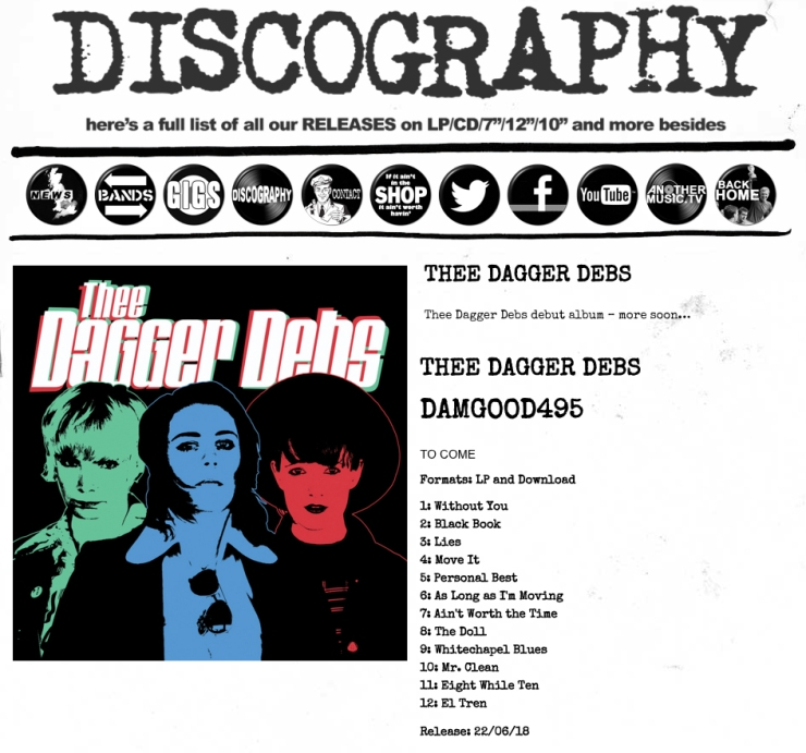 DAMAGED GOODS discography screen shot